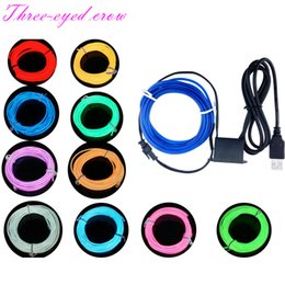 Wholesale El Usb - 1M 2M 3M 4M 5M 10M Party Decor Flexible Neon Light Glow EL Wire Rope Tape Cable Strip LED Neon Light With USB Controller For Car