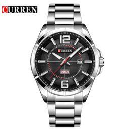 CURREN  Mens Watches  sport Quartz 30M waterproof watch men stainless steel band auto date wristwatches relojes 8271 от