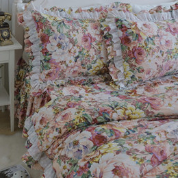 Wholesale White Queen Bedding Ruffle - New full flowers print bedding set pastoral ruffle lace duvet cover quality embroidery bedding elegant bed sheet bed skirt type