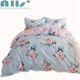 Wholesale blue floral sheet sets - 3 4pcs Blue Flowers Duvet Cover Set Queen Twin Size Bedding Sets For Adults Pink Floral Bed Sheets Pillow Case Soft Bed Linens
