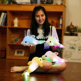 Wholesale Led Pillows - LED Light Luminous Dolphin Doll 32cm Cute Soft Pillow Stuffed Animal Plush Glowing Pillow Christmas Gifts 4 Colors 30pcs OOA4022