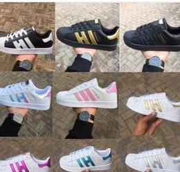 Niños grandes zapatos casuales online-dorp shipping 18 colores super star Moda Hombre Mujer Big Kids shoes Zapatillas Casual Sport Zapato de cuero