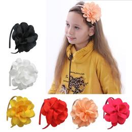 2019 cabeza de flor grande Niños Niñas Cinta Flor Grande Arco Hairbands Hairwear Tiaras Aro Para El Pelo Niñas Bandas para la Cabeza Accesorios cabeza de flor grande baratos