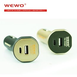 Wholesale micro usb car charge - Wewo Car Charger With Type C USB Dual Port 3.2A Output Fast Charging For iPhone Micro Usb Type C Cable Phone Charger Portable Travel Charger