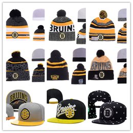 Wholesale Hockey Beanies - Boston Bruins Snapback Caps Adjustable Hat Black white red grey Boston Bruins Knit Hat Hockey beanies Caps