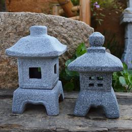 2019 lámparas de estilo japonés Lámpara de estilo japonés Piedra de imitación Pequeña lámpara de viento Adornos de jardín Luces de velas Decoración de jardinería Decoraciones de jardín lámparas de estilo japonés baratos