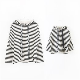 Wholesale Boutique Clothes For Girls Wholesale - Korean boutique mother and daughter clothes striped hooded children T-shirt with long wide printed black band for girls