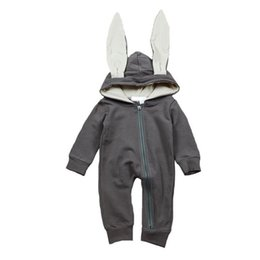 Wholesale Cute Outfits For Boys - Cute Rabbit Ear Hooded Baby Rompers For Babies Boys Girls Clothes Newborn Clothing Brands Jumpsuit Infant Costume Baby Outfit