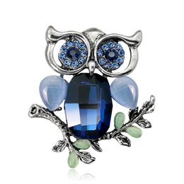 Wholesale Decor Clips - Big Eyes Crystal Owl Brooch Antique gold silver Color Animal Bird Pins Dress Clothing brooches Accessories Collar Clip Dress Decor 370009
