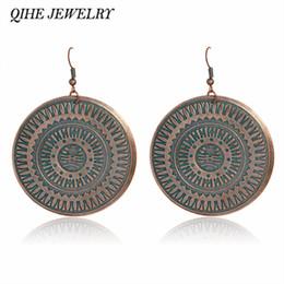 Wholesale Carved Emeralds - Statement earrings Rustic blue carved pattern big round charm vintage Drop earrings Women fashion jewelry brinco oorbellen