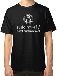 Wholesale cool cheap tees - Programmer Linux Sudo Rm Rf T-Shirt Tees Clothing Short Sleeve Cheap Sale Coon T Shirt Cool O-Neck Tops The New
