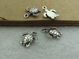 Argentina 50pcs encantos de plata antiguos de la tortuga, 15x12mm encantos de la tortuga de mar, colgantes de la tortuga joyería ZM0 2165 Suministro