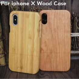 Caja de madera 100% respetuosa del medio ambiente para el iphone X 6 6s más 7 8 5 5s Caja de madera móvil de bambú del teléfono celular para Samsung Galaxy S9 S8 Note 8 S7 desde fabricantes