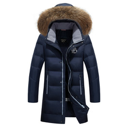 Wholesale Winter Jacket Fur Hood Mens - New Top Quality Winter Men's Long Design Down Jackets Coats Mens Fashion Thick Warm Big Fur Collar Hooded Jacket Plus size M-6XL