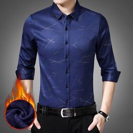 eb25d1e0e67 New Mens Long Sleeve Plus Velvet Striped Shirt Fashion Warm Business  Boutique Blouse Autumn and Winter Men s Smart Casual Shirts