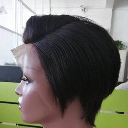 estilo de cabelo humano africano Desconto Em Linha Reta Frente Perucas de Cabelo Humano Barato Pixie Corte Curto Com o Cabelo Do Bebê Africano Corte de Cabelo Estilo Brasileiro Peruca Das Senhoras Para As Mulheres Negras