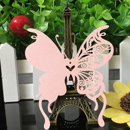 Wholesale Wedding Name Place Cards - 50pcs 9 Colors DIY Place Card Laser Cut Butterfly Wedding Invitation Wine Glass Cup Paper Cards Name Card Wedding Party Decor