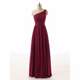Vestidos de gasa de china online-Real elegante un hombro con pliegues gasa borgoña vestidos de dama de honor largos Baratos por encargo de China Vestido formal de dama de Honor Vestidos