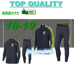 Wholesale Train Suits - top thai quality 2018 brazil Soccer training suit 18 19 D.COSTA DAVID LUIZ T.SILVA OSCAR NEYMAR JR soccer jerseys tracksuit shirts