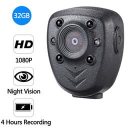 polizeikörper kameras Rabatt HD 1080P Polizei Körper Revers getragen Video-Kamera DVR IR Nachtsicht LED Licht Nocken 4-Stunden-Rekord Digital Mini DV Recorder Stimme 16G Freies Shippin