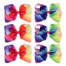 Wholesale Grosgrain Ribbon Flowers - vGirls 8 Inch Large Rainbow Grosgrain Ribbon Bow Clips Hairpins Bubble Flower Bow Barrettes Kids Hair Clip Boutique Hair Accessoriesm B11