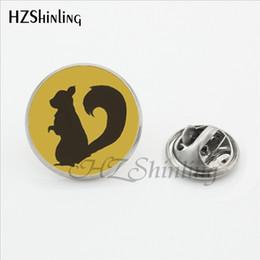 star trek pins Rabatt Eichhörnchen Schmuck Anstecknadeln Handgemachte Runde Smart Eichhörnchen Kiefernnuss Metall Brosche Glaskunst Edelstahl Kragen Tipps