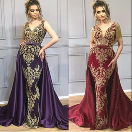 indian short gown Coupons - Burgundy Mermaid Prom Pageant Dresses with Overskirt 2019 Luxury Gold Beaded Applique Tassel Indian Dubai Arabic Occasion Evening Gown