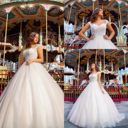 Wholesale Simple Elegant Gowns - 2018 Simple Elegant Summer Beach Wedding Dresses Capped Sleeves Lace Appliques A Line Tulle Bridal Gowns Cheap Wedding Gowns