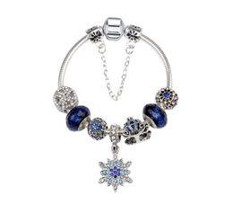 Wholesale Female Pumpkin - 2018 Blue Star Female Bracelet Alloy DIY Snowflake Pendant Pumpkin Rhinestone Beads Bracelet Snake Chain Jewelry D853L