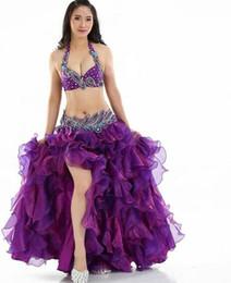 Envío gratis Sexy Slit Women 3 piezas traje de danza del vientre conjunto para adultos trajes de baile pavo real rendimiento vestido blanco púrpura desde fabricantes