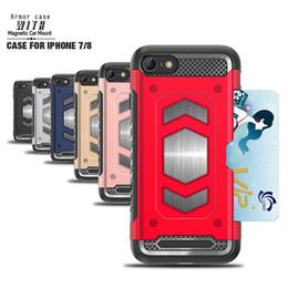 Wholesale Q8 Cars - Car Mount Magnetic Armor Hybrid Case For Iphone X 8 7 6 6S Plus LG V30 G6 Q6 Q8 Shockproof TPU PC Phone Cards Slot Box Skin Cover 100pcs