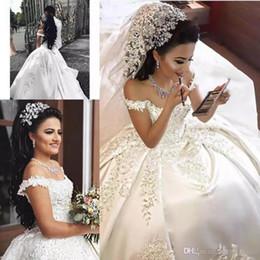 Kleider verkappte schultern online-2019 Sexy Schulterfrei Ballkleid Brautkleider Spitze Appliques Capped Sleeves Kathedrale Zug Plus Size Hochzeit Brautkleider