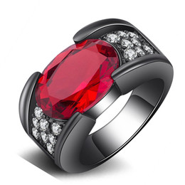 Wholesale red corundum - Gemstone Ring Jewelry Corundum Fashion Diamond Ring Tungsten Gold Color Dress Women Jewelry Red Color & 5 Size