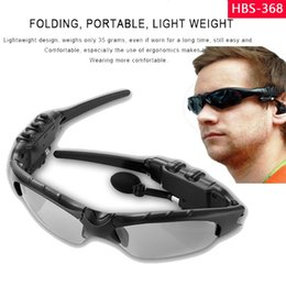 Wholesale bluetooth headphones sunglasses - HBS-368 Sunglasses Bluetooth Headset Outdoor Glasses Earbuds Music with Microphone Stereo Wireless Headphone For iPhone Samsung 2018
