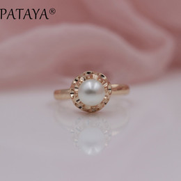 2d6b7f1ea38d 2019 grabado de perlas Toda la ventaPATAYA Novedades Oferta especial 585  Anillos de oro rosa Redondo