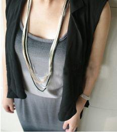 2019 joyería nj Joyas De Plata Hot Vintage Collar Europeo Steampunk Fine Jewelry Populares Collar de cadena múltiple Maxi Collar NJ-0247 joyería nj baratos