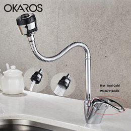 bagno in ottone cromato finitura Sconti OKAROS Kitchen Brass Faucet Sink Faucet Chrome Finished Tap Spruzzatore Ugello Cold Hot Water Miscelatore Rubinetti per il bagno Torneira