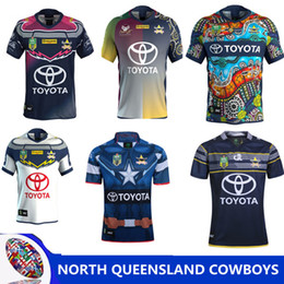 Wholesale north homes - cowboys jerseys rugby league 2018 2019 North Queensland Cowboys home away Rugby Jersey Short Sleeve Men football Shirts Size S-3XL