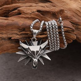 3mm rolo chain Promo Codes - GNAYY Silver Stainless Steel Mens witcher Wolf Charms Pendant Necklace Rolo chain 3mm 24'' Biker Jewelry XMAS Gifts