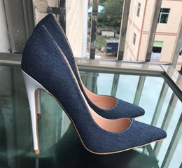 Wholesale denim pumps - Top Quality Denim High Heels Women Pumps New Fashion Big Size 34-44 Thin Heels Women red bottom Shoes