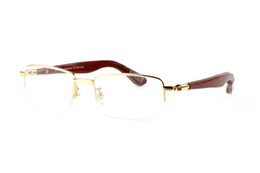 Wholesale Wood Framed Optical Glasses - Classic Half Frames Sunglasses Mens Brand Designer Eyewear Gafas Reading Sun Glasses Vintage Metal With Wood Optical Frame With Red Box