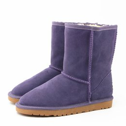 Wholesale warm high boots - Australia Winter Women Snow Boots Fashion High Quality Genuine Suede Leather Australia Classic Warm Winter Shoes Woman 5825