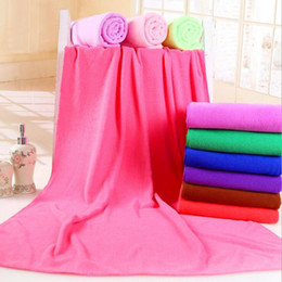 Wholesale Swiming Baby - Microfiber Bath Towel 70*140cm Quick Drying Beach Towel Washcloth Swimwear Boby Shower Towel Travel Sports Swiming Towels 14 Colors OOA3947