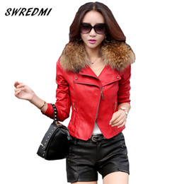 Wholesale Orange Leather Jackets - Wholesale- leather jacket women 2017 spring real fur collar leather clothing outerwear jackets and coats ladies red leather coat motorcycle