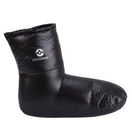 AEGISMAX утка вниз пинетки тапочки мягкие носки для зимы холодной погоды кемпинг открытый крытый 25 см / 9,8 дюйма черный от