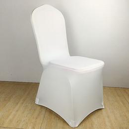 Couleur blanc pas cher chaise couverture spandex lycra élastique chaise couverture forte poches pour la décoration de mariage hôtel banquet en gros ? partir de fabricateur