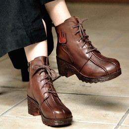 Wholesale Over Knee Boots Woman - New arrival designer women chunky heel lace up martin boots vintage round toe ankle boots