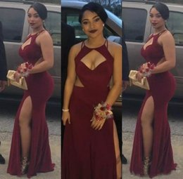 Wholesale cutout fashion - 2018 Burgundy Mermaid Prom Dresses Cutouts Split Long Sexy Maroon Evening Gowns Hot Black Girl Fashion Couples Prom Party Gowns BA2437
