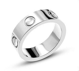 Novo titanium aço carter amor anéis para mulheres homens casais anel cúbicos de zircônia bandas anel de casamento logotipo pulseira feminina jóias de