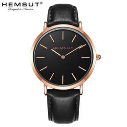 965121b69ee Reloj para hombre Hemsut Ultra-delgado Reloj para hombres Correas de cuero  Cuarzo 30m Impermeable Negro relogio masculino 2018